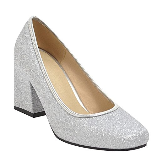 Carolbar Women's Fashion Sexy Block High Heel Square Toe Court Shoes Silver vTBgRF2s