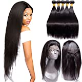 Maxine Peruvian Straight Hair 3 Bundles with 360 Frontal Silk Lace Closure 9A Grade Free Part Bleached Knots 3 Bundles Virgin Hair Weaves Human Hair 16 16 16 + 14inch 360 frontal Review