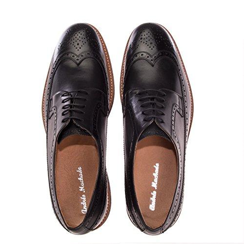 Andres Machado.6109.oxford Sko I Leather.made I Spain.mens Store Størrelser: Oss M13 Til M16 Sort Skinn