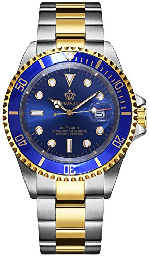 Reginald Mens Luminous Watch Rotatable Bezel Sapphire Glass Blue Dial Gold Stainless Steel Quartz Watches