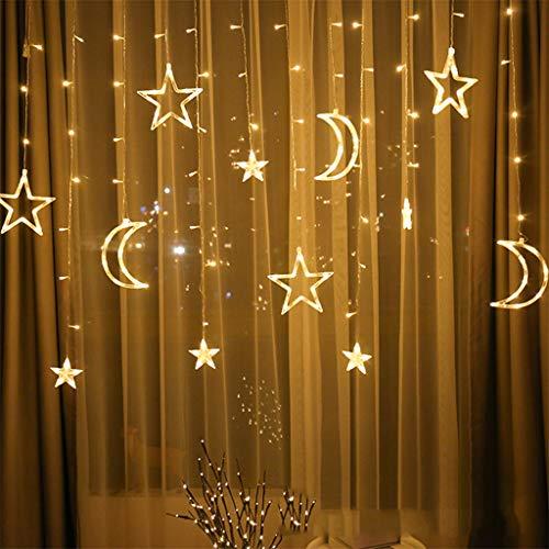 FBGood Lumière Guirlande de Noël LED Étoile Lune – Rideaux Lumineux Guirlandes Lumineuses pour Noël Fête Vacances…