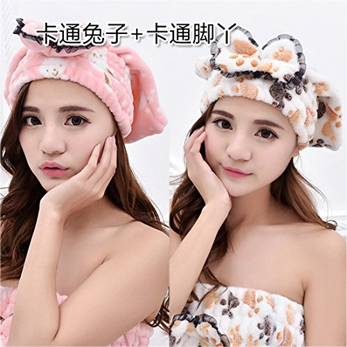 (LHbox Tap Thick Bow Tie Drying Cap Adult Absorbent Drying Towel to Wipe Shower Cap Head Turban from Blowing Kit and Fast Dry Towel, Cartoon Foot + Cartoon Rabbit)