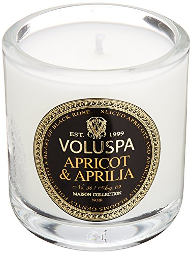 Voluspa Black Votive (Voluspa Maison Noir Collection, Classic Votive Candle, Apricot & Aprilia, 3 oz)