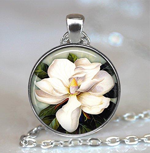 Southern Magnolia Pendant, Magnolia Flower, Magnolia Jewelry Magnolia Necklace Resin Pendant