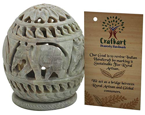 - Crafkart Soapstone Votive Candle Tealight Holder with Elephant Figurines Tendrils Carved on The Side and a Rosette on The Top - Decorative Lamps Lanterns - Handmade Home Décor