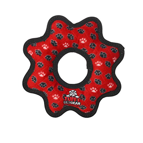 TUFFY Ultimate Gear Ring, Durable Dog Toy (Regular, Red - Scale 8 Tuff
