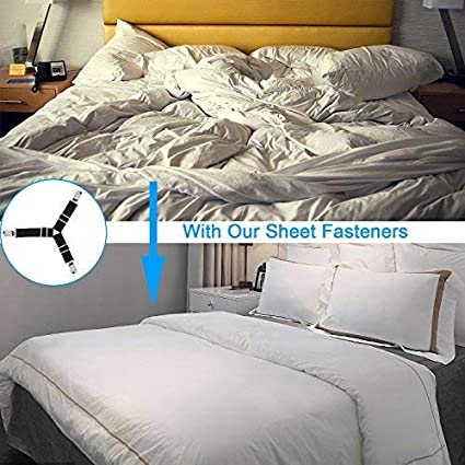 BetyBedy 4Pcs Triangle Bed Sheet Holder Adjustable Sheet Band Straps Fasteners Suspenders Black Bed Sheet Keeper Grippers for Mattress Pad Cover Sofa Cushion