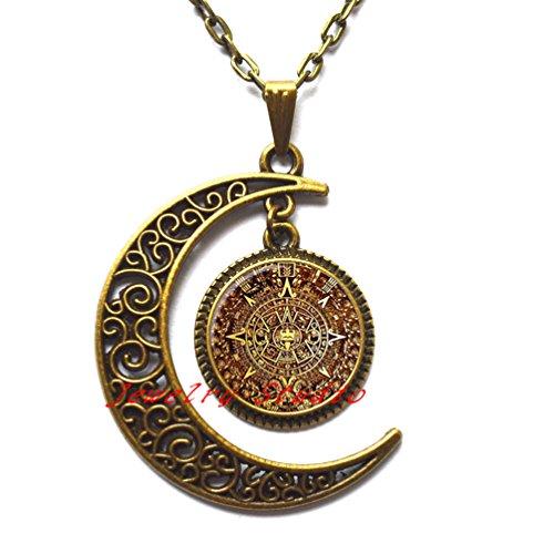 Charming fashion moon necklace,New Fashion Aztec Calendar necklace Sun Stone pendant Aztec Calendar jewelry Art Glass Pendant,photo pendant art pendant photo jewelry art jewelry glass - Buy Online Glasses Sun