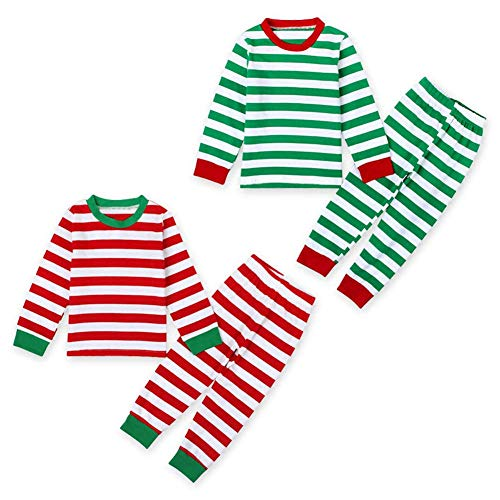 2Pcs Toddler Boys Girls Christmas Costume Long Sleeve Striped T-Shirt Top+Long Leggings Pants Christmas Pajamas Clothes (Red, 7 Y) -