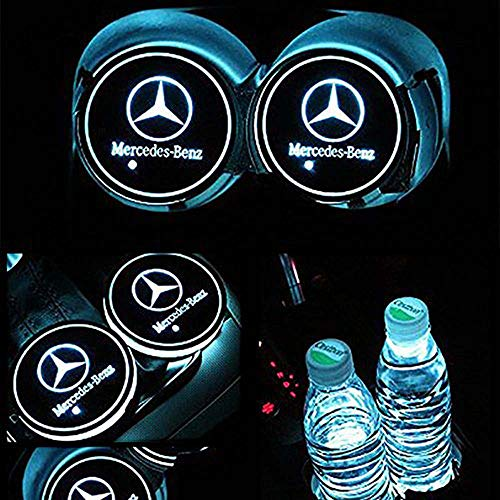 Yuanxi Electronics Car Logo LED Cup Pad led Cup for Mercedes-Benz Coaster 7 Colors Changing USB Charging Mat Luminescent Cup Pad LED Mat Interior Atmosphere Lamp Decoration Light (2PCS)