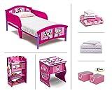 4 in 1 Crib Bedroom Set Disney Minnie Mouse Toddler Room Set, 6-Piece (Toddler Bed | Bookcase | Side Table | Bedding Set | Storage Bins | Bonus Sheet Set)