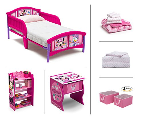 Disney Minnie Mouse Toddler Room Set, 6-Piece (Toddler Bed | Bookcase | Side Table | Bedding Set | Storage Bins | Bonus Sheet Set)
