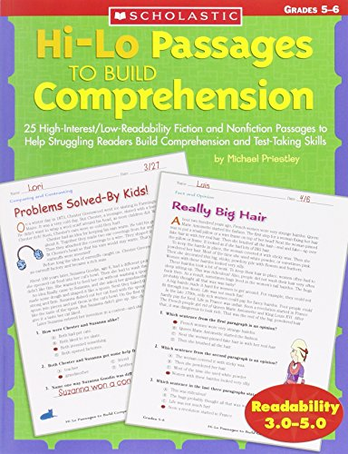 Hi/lo Passages To Build Reading Comprehension Grades 5-6: 25 High-Interest/Low Readability Fiction and Nonfiction Passages to Help Struggling Readers Build Comprehension and Test-Taking Skills