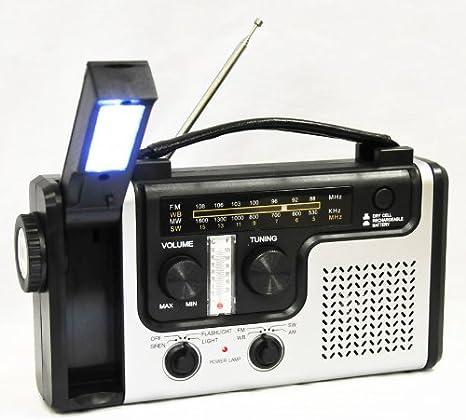 Hand Kurbel LED Taschenlampe Handkurbel Solar Dynamo Karabiner AM//FM Radio