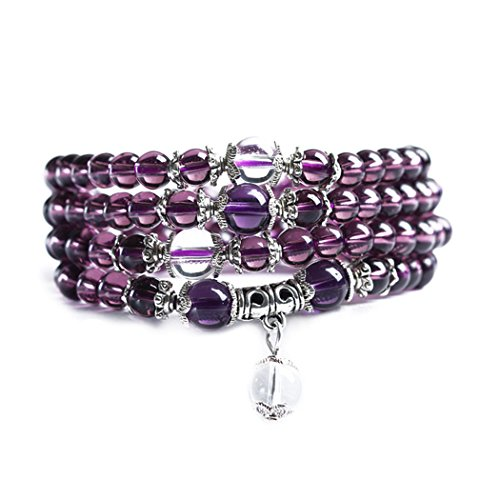 Price comparison product image Time Pawnshop Original Design Natural Amethyst Necklace 6mm Bead Mala Multilayer Wrist Bracelet