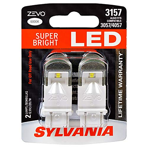 SYLVANIA - 3157 ZEVO LED White Bulb - Bright LED Bulb, Ideal for Daytime Running Lights (DRL) and Back-Up/Reverse Lights (Contains 2 Bulbs)