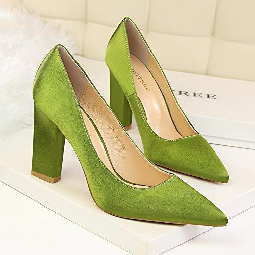 10 laca de esmeralda único Verde tacón zapato de alto zapato calzado centimetro XiaoGao 1wHxAd1