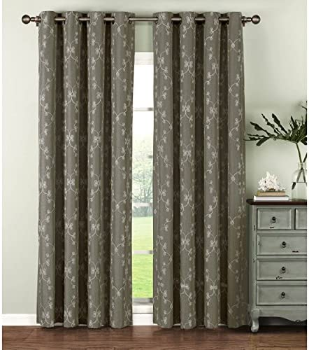 Window Elements Geo Gate Embroidered Faux Linen Extra Wide 108 x 96 in. Grommet Curtain Panel Pair