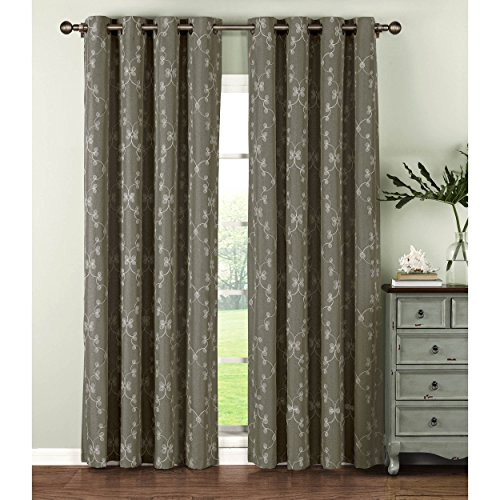 Window Elements  Geo Gate Embroidered Faux Linen Extra Wide 108 x 96 in. Grommet Curtain Panel Pair, Charcoal