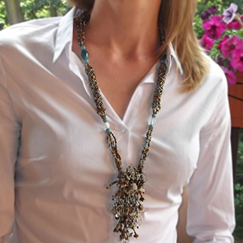 Ice Bijoux Turquoise Beads with Shells Necklace For Women Y Drop Long Necklace 27.5' Malaysia Collection by Ice Bijoux (Image #2)
