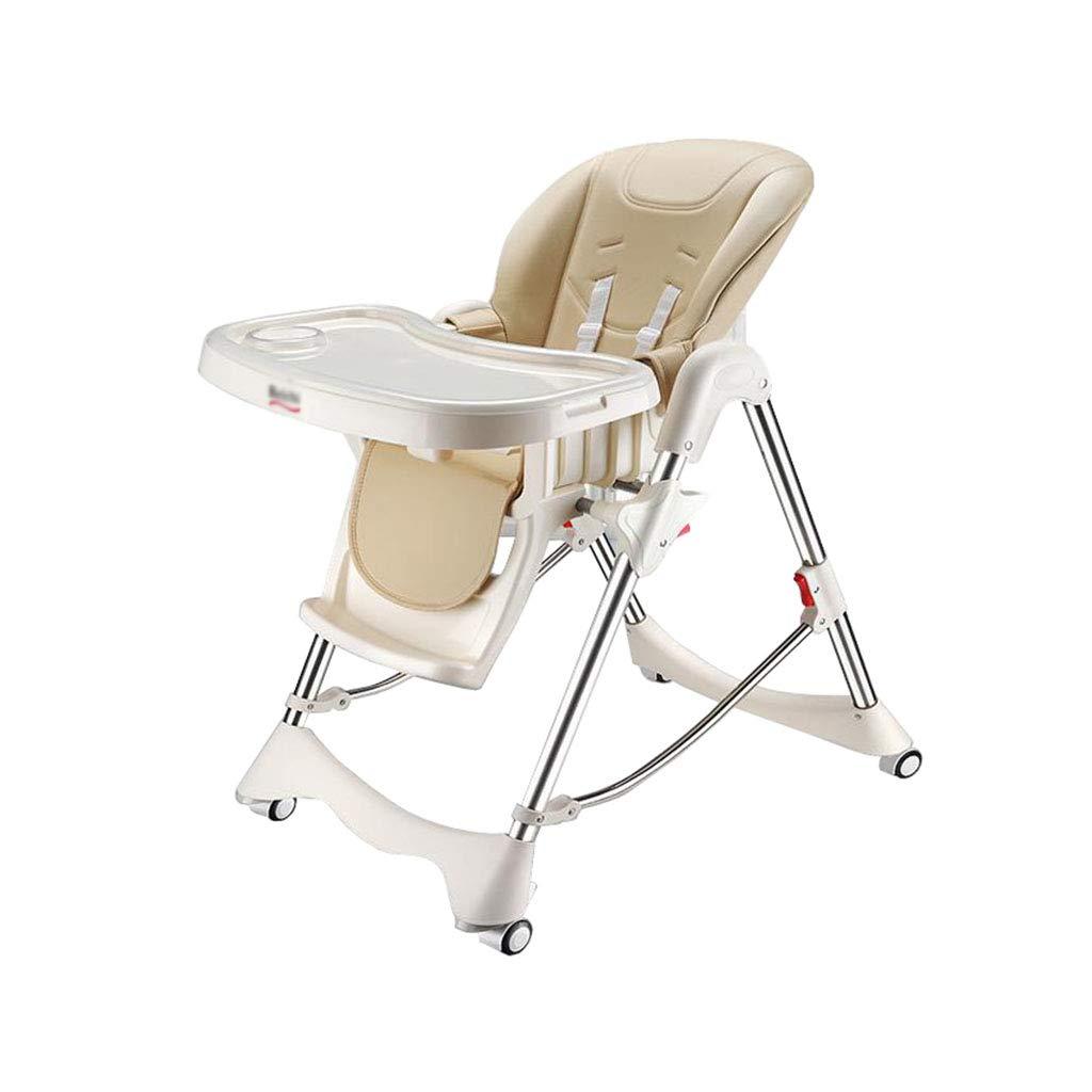ハイチェア 赤ちゃんハイチェア多機能ダイニングチェア調節可能な折り畳み式ホイール付   B07SX72CBG
