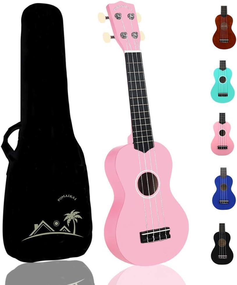 POMAIKAI Soprano Ukelele para Principiantes, Ukelele Hawaiano para Niños, Guitarra de 21 Pulgadas con Bolsa para Niños Estudiantes y Principiantes (rosa)