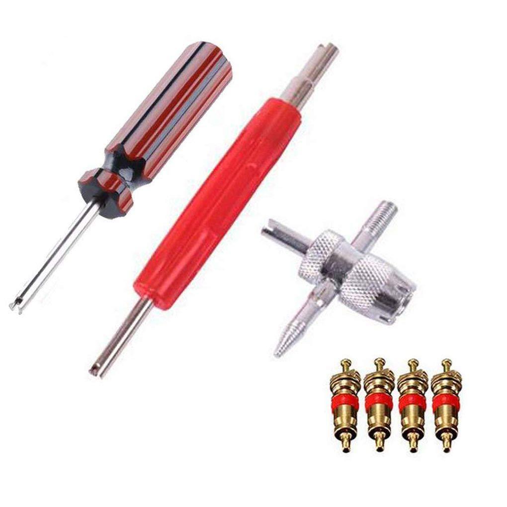 Morelyfish Dual//Single Head-Ventileinsatz-Remover Tools 4-Wege-Reifen-Reparatur-4pcs Messingventil Cores Kit Set