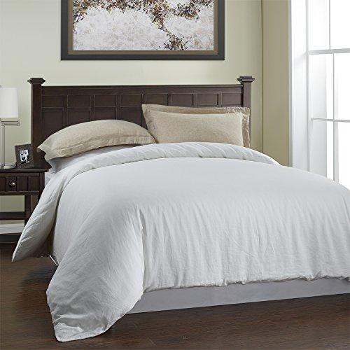 1 Cotton Linen (Simple&Opulence 3Pcs Cotton Linen Duvet Cover Set Include 2 Pillowcases 1 Duvet Cover (Queen, White))