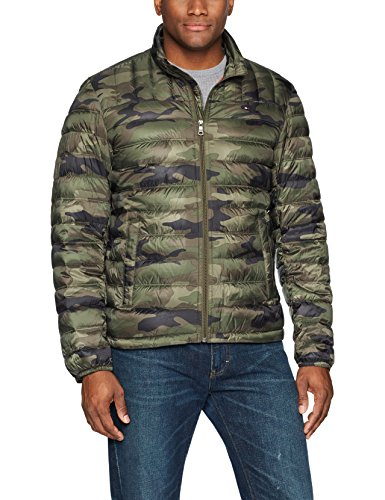 Tommy Hilfiger Men's Packable Down Jacket (Regular and Big & Tall Sizes), Olive Camouflage, X-Large