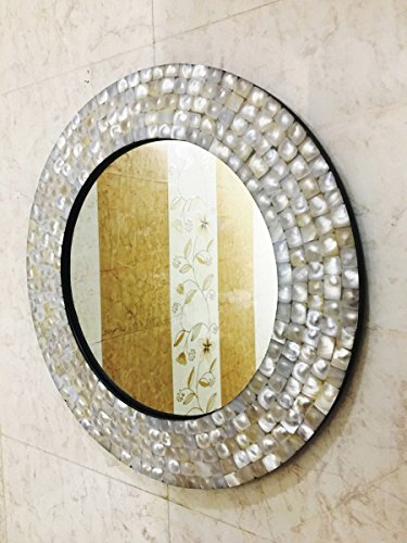 Wall Mirror Bedroom Mother of Pearl Inlay Frame Decorative Home -
