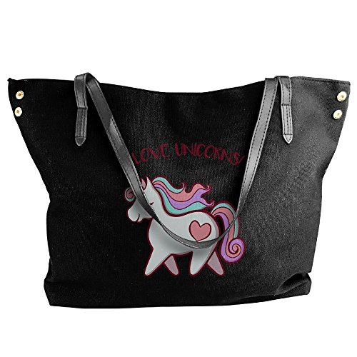 Women's Unicorns Hobo Bag Black Canvas Large Handbag Tote Shoulder Love I qBqwTCr