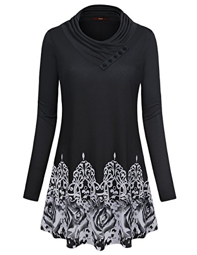 Cowl Neck Tops for Women, Gaharu Ladies Long Sleeve Button Cowl Neck Casual Floral Printed Flare Hem Tunic Shirt (Large,Black) Printed Tunic Top