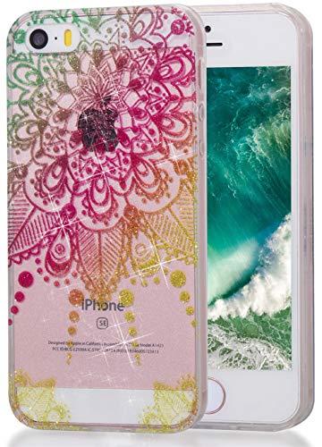 lYonge, For iPhone 5 5S SE Bling Case, Shinning Glitter Flexible Soft Rubber Gel Clear Transparent TPU Silicone Back Case for Apple i5 i5S SE 5G (Color mandala)