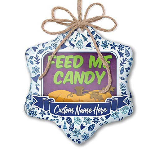 NEONBLOND Custom Tree Ornament Feed Me Candy Halloween Pumpkin Top with Your Name -