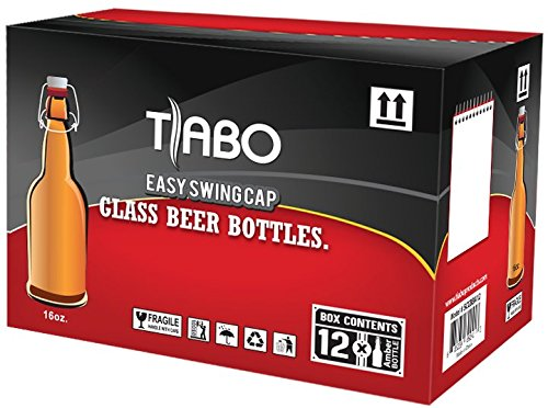 Home Brewing Glass Beer Bottle with Easy Wire Swing Cap & Airtight Rubber Seal -Amber- 16oz - Case of 12 - by Tiabo by Tiabo (Image #5)