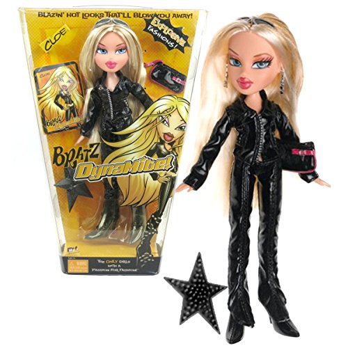 MGA Entertainment Bratz DynaMite Series 10 Inch Doll - CLOE in Black Leather Outfit with Sunglasses, Hairbrush and - Glasses Cloe