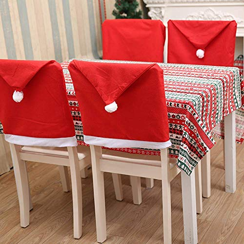 Santa Hat Chair Covers Santa Clause Red Hat Chair Back Cover Xmas Cap Coverings Chair Sets 4PCS Red Hat Christmas Chair Back Covers Kitchen Chair Covers Sets for Christmas Holiday Festive Decor