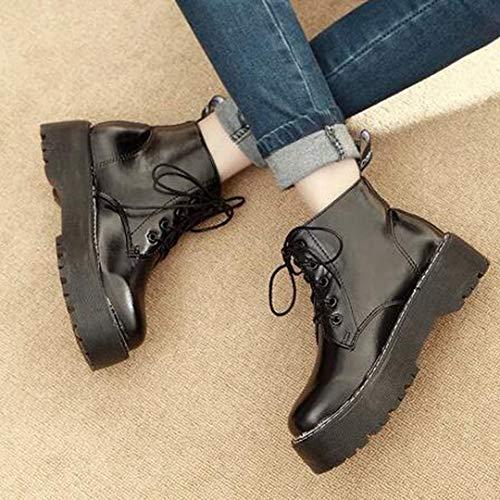 Boucle Martin Femmes Anglais Knight Zipper Forme Punk Black2 Bottes Chaussures Cheville Ceinture Style Plate Mode 701Oxq1