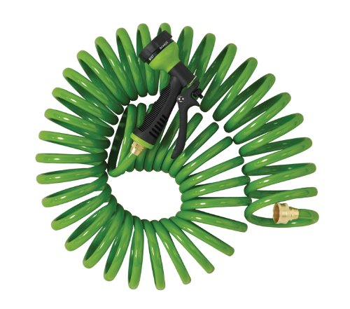 Orbit 27872 50-Foot Coil Hose with Nozzle, Green