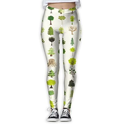 XDDFRTFF Women's Full-Length Yoga Pants 3D Printed Plant Pattern Workout Leggings