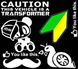 iJDMTOY JDM Racing Rally Panda New Driver Leaf Slow Turbo Snail Euro Mustache Transformer Warning Like This Combo Deal Stickers Decals SET