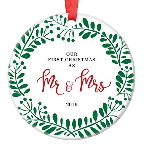 First Christmas as Mr & Mrs Ornament 2019 Pretty Seasonal Wreath Bride & Groom 1st Holiday Married Couple Ceramic Keepsake Husband & Wife Gift Idea 3