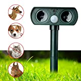 ZAILHWK Repeller Solar, Ultrasonic Animal Repeller Solar Power Animal Pest Repeller PIR Sensor with Flashing LED Light, Repel, Cat, Dog, Deer, Rabbit, Squirrel