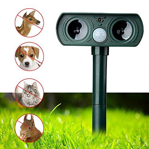 ZAILHWK Repeller Solar, Ultrasonic Animal Repeller Solar Power Animal Pest Repeller PIR Sensor with Flashing LED Light, Repel, Cat, Dog, Deer, Rabbit, Squirrel by ZAILHWK