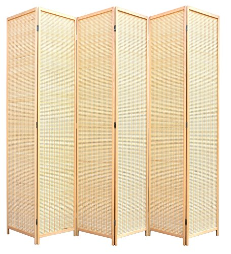 RHF 6 ft. Tall-Extra Wide, Double Hinged, bamboo room divider, 6 Panel Room Divider/Screen, Room Dividers and Folding Privacy Screens 6 Panel,Wall divider,Room partitions/Separator/Dividers-Bamboo 6
