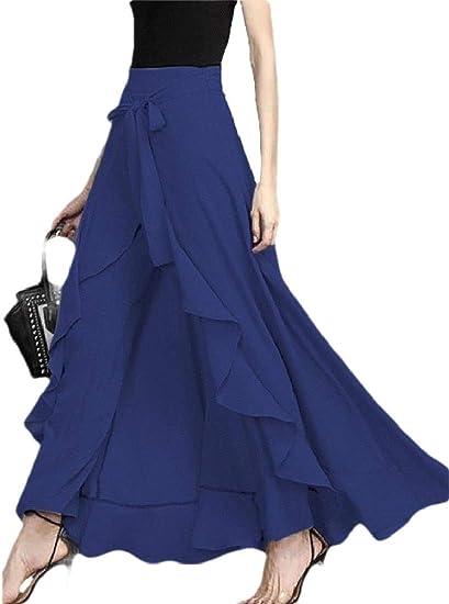 chenshiba-JP 女性ファッションパラッツォワイドレッグタイウエストソリッドカラーフリルオーバーレイパンツスカート