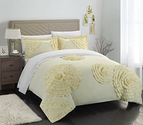 Chic Home 3 Piece Birdy Floral and Rose Pleated Etched Applique Duvet Cover Set, Queen, (Birdy Bed)