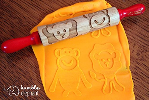 Lion and Monkey Kids Wooden Laser Cut Mini Rolling Pin