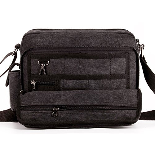 Outreo Canvas Umhängetasche Herren Vintage Messenger Bag Schultertasche Herrentaschen Kuriertasche Uni Schule Taschen für Buch Tablet Sport Segeltuchtaschen Retro sporttasche Weekender Reisetasche Schwarz
