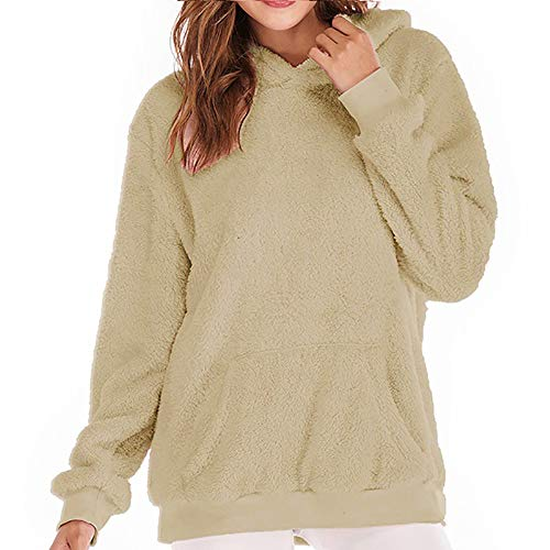 Ulanda Womens Winter Warm Wool Fuzzy Casual Loose Hooded Sweatshirt Pockets Cotton Coat Outwear by Ulanda